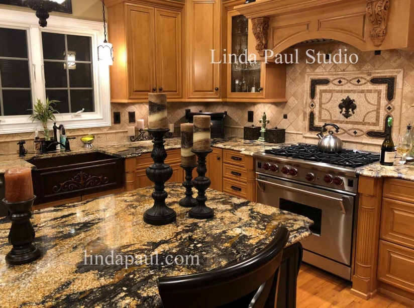 Tile Murals and Medallions for kitchen backsplashes - Custom Tile Art & Linda Paul Studio - Lafayette Colorado - Interior Design